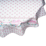 Tea party pink round oilcloth tablecloth