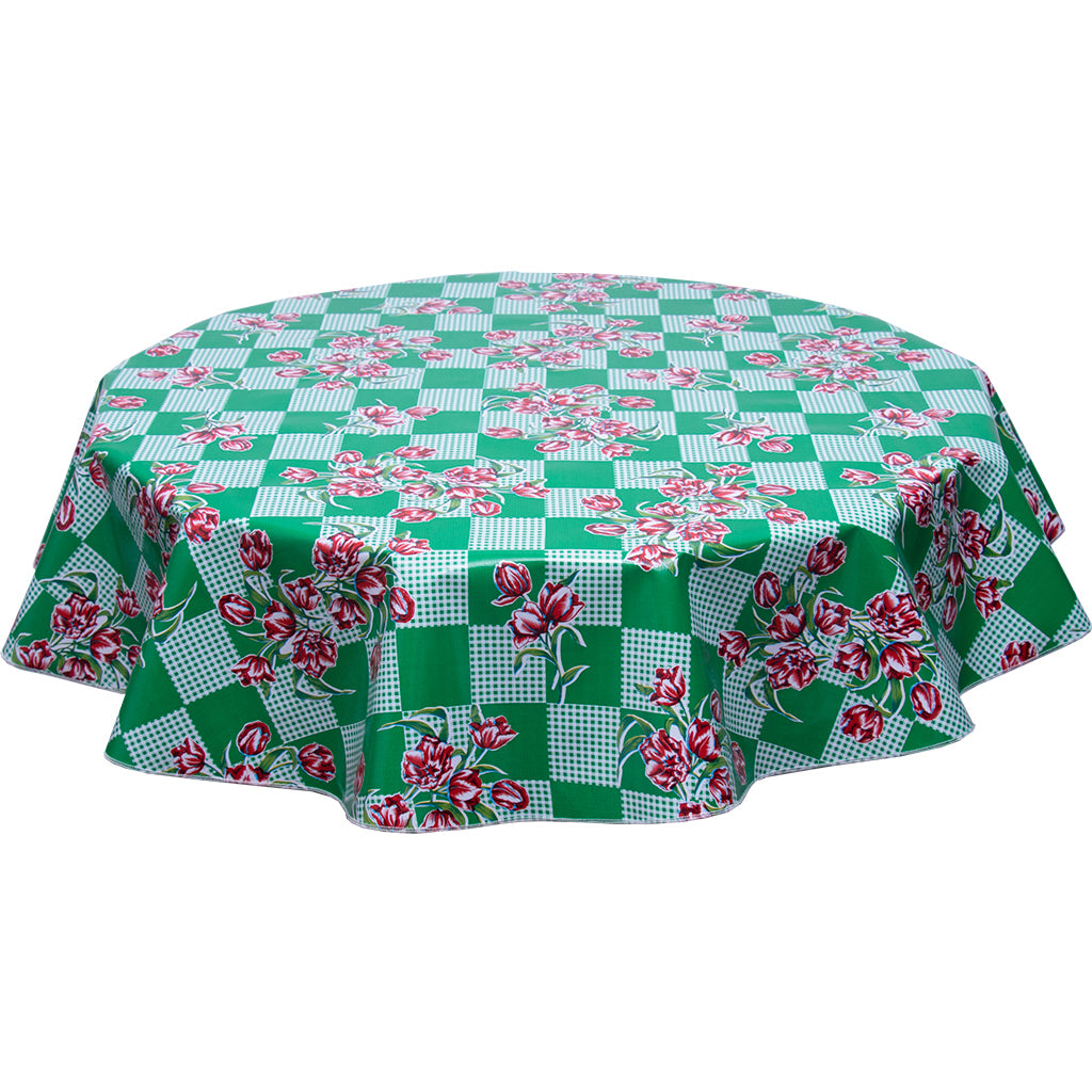 Round oilcloth tablecloth red tulips on green