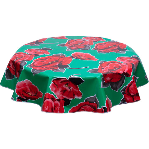 Round oilcloth tablecloth gardenias on green