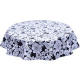 Round oilcloth tablecloth chelsea flowers on black