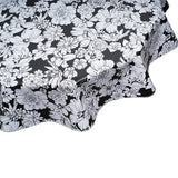 Chelsea Flowers on Black Round Oilcloth Tablecloth