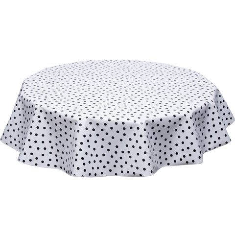 Round oilcloth tablecloth black dots