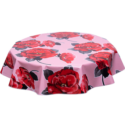 Round oilcloth tablecloth Gardenia on pink
