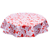 Chelsea Flowers on Red Round oilcloth tablecloth