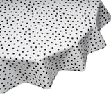 freckled sage Black Dots Round oilcloth tablecloth