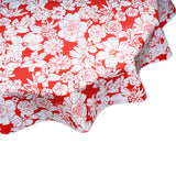 Round oilcloth tablecloth Chelsea Flowers on Red