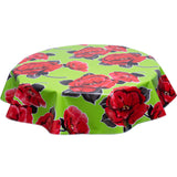 Round oilcloth tablecloth Gardenia on lime