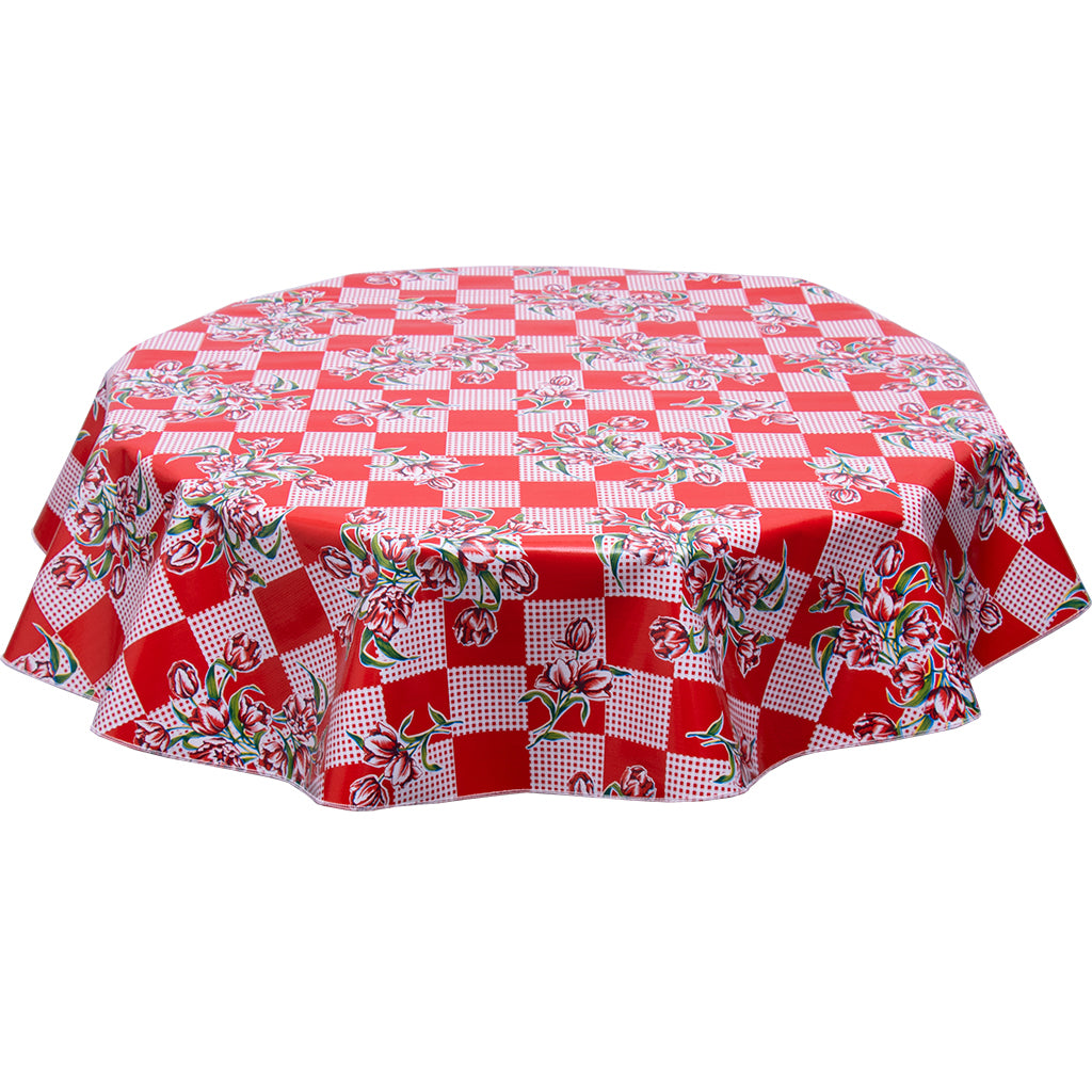 freckled sage round oilcloth tablecloth tulip red