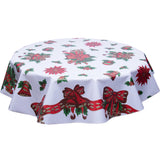 Christmas oilcloth tablecloth bells and bows