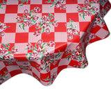 freckled sage tulip red round oilcloth tablecloth