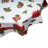 Christmas round tablecloth bells and bows on white