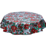 Christmas round tablecloth ribbons and holly on silver