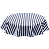Round Oilcloth tablecloth in Black Stripes