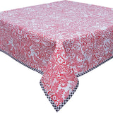 Toile Red Oilcloth Tablecloth with Black Trim