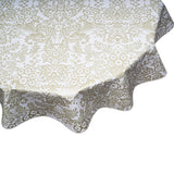Gold Toile round oilcloth tablecloth