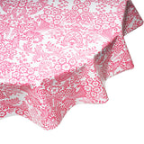 freckled sage pink toile round oilcloth tablecloth