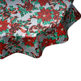 Christmas tablecloth ribbons and holly on silver