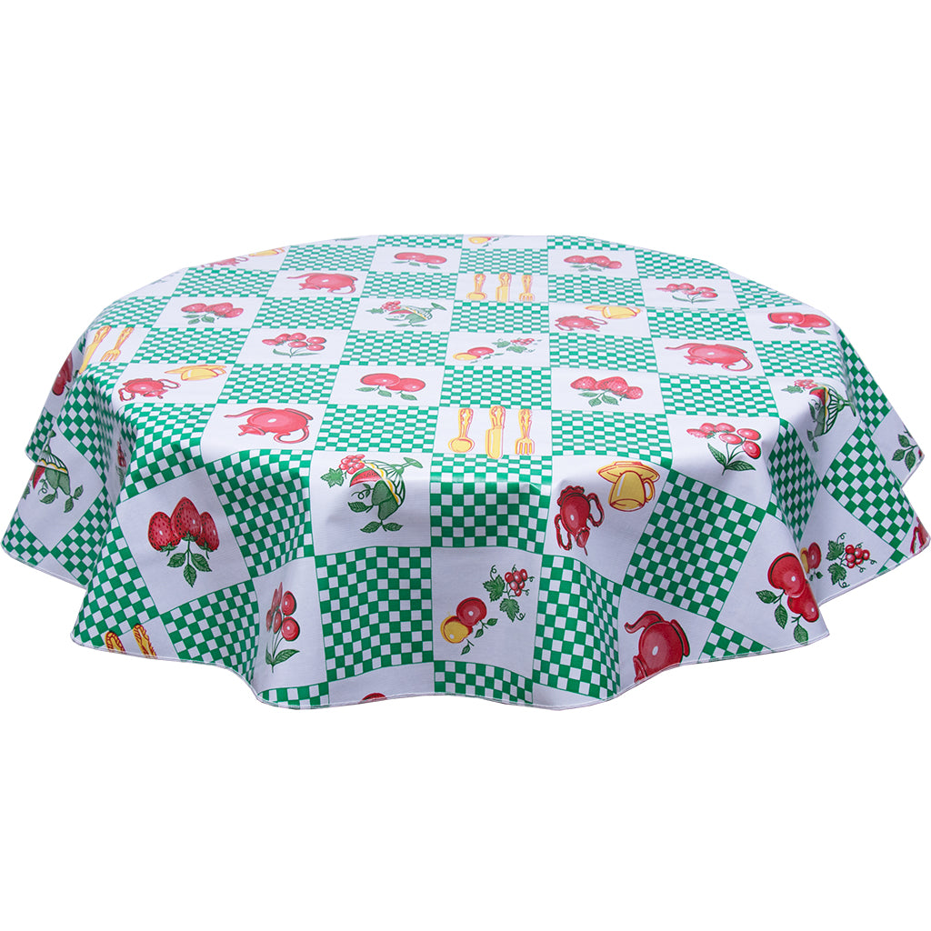 freckled sage teapot green round oilcloth tablecloth