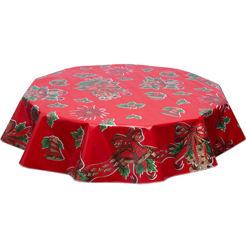 Christmas Bows and Bells on Red round tablecloth