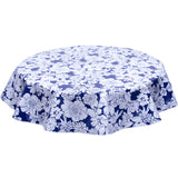 round oilcloth tablecloth in Chelsea Flowers on Navy