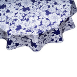 Chelsea Flowers on Navy Round Oilcloth Tablecloth