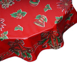 Round tablecloth Christmas bells and bows on red