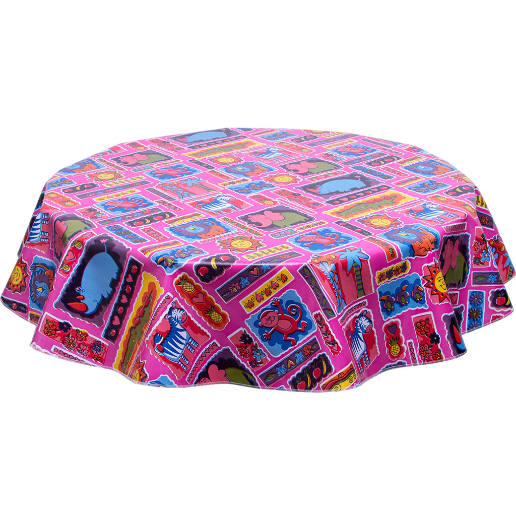 Freckledsage.com Round Tablecloth menagerie Pink