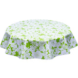 Chelsea Flowers on Lime Round Oilcloth Tablecloth