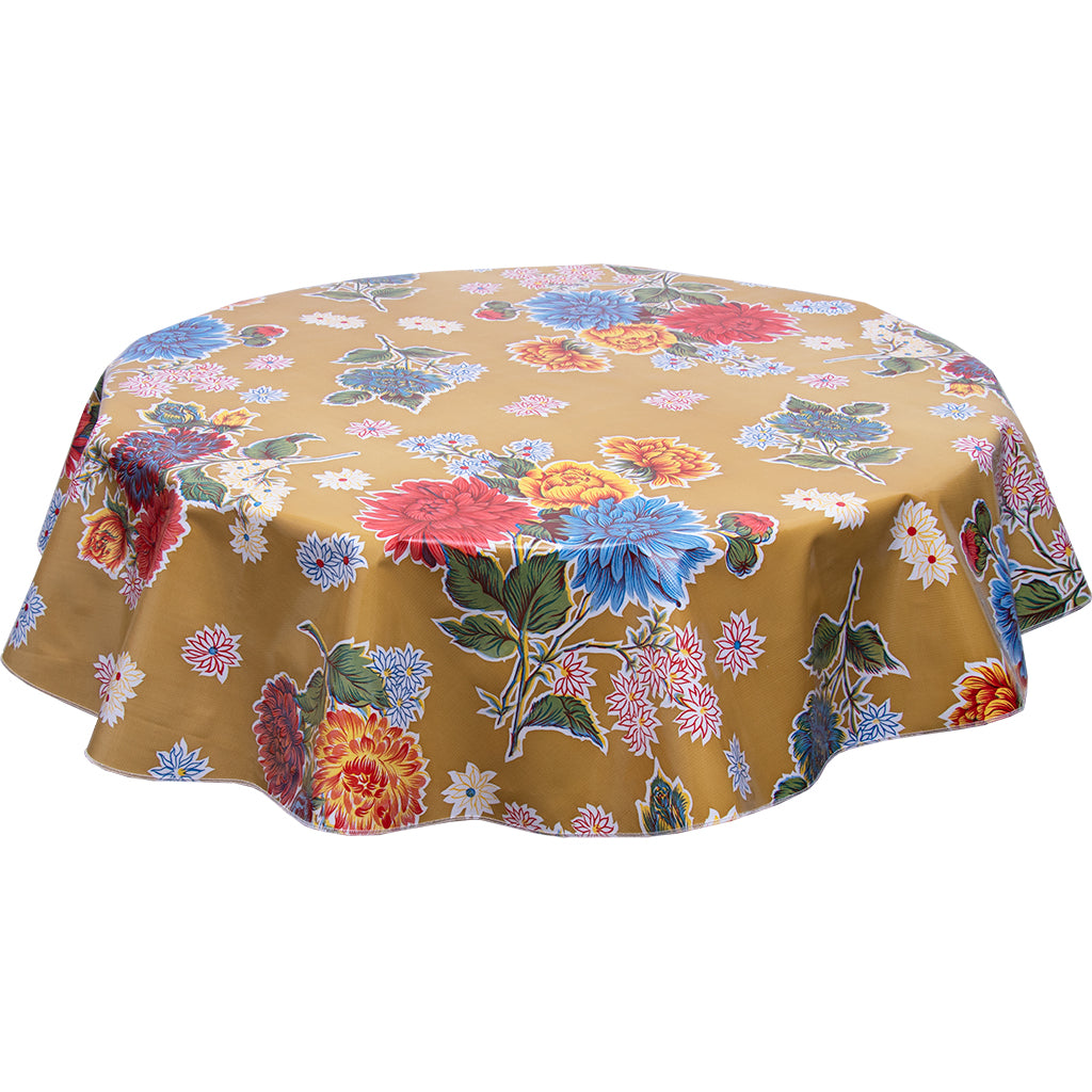 Round oilcloth tablecloth mum tan