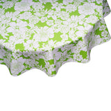 Round Oilcloth Tablecloth Chelsea Flowers on Lime