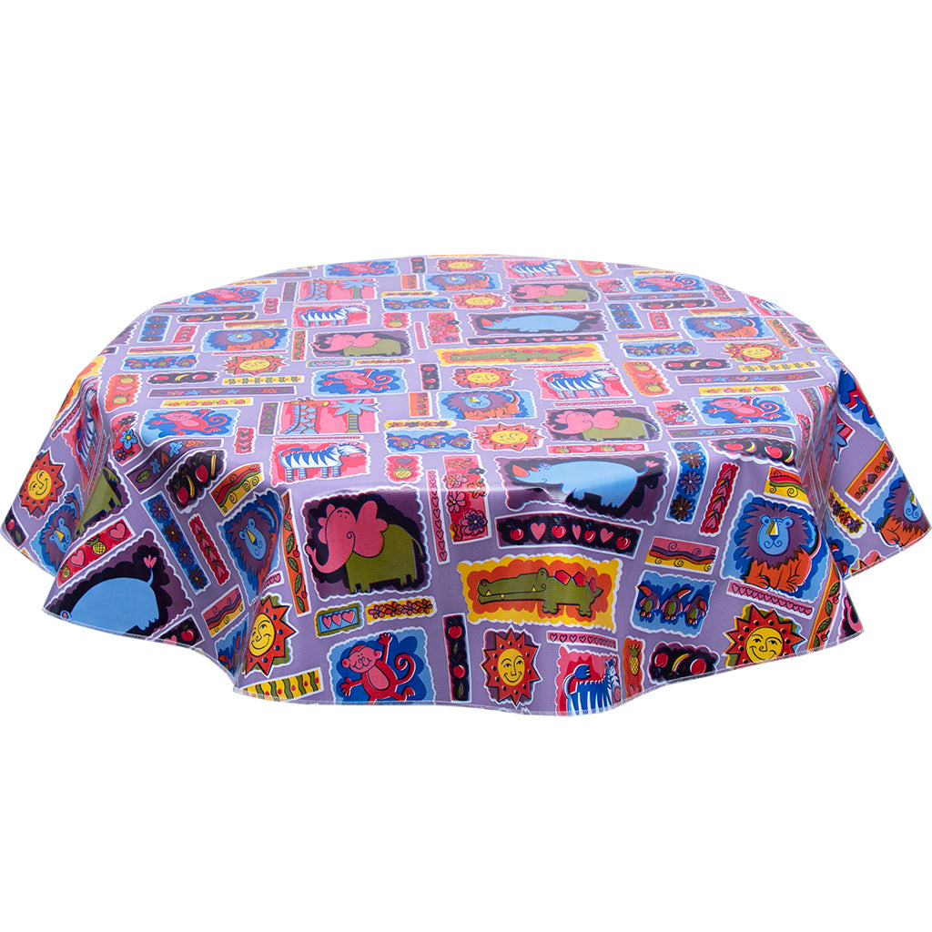 FreckledSage.com Purple Menagerie Round Oilcloth Tablecloth