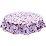 Round Oilcloth Tablecloth Chelsea Flowers on Burgundy