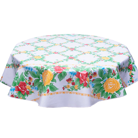 freckled sage yellow english roses round tablecloth