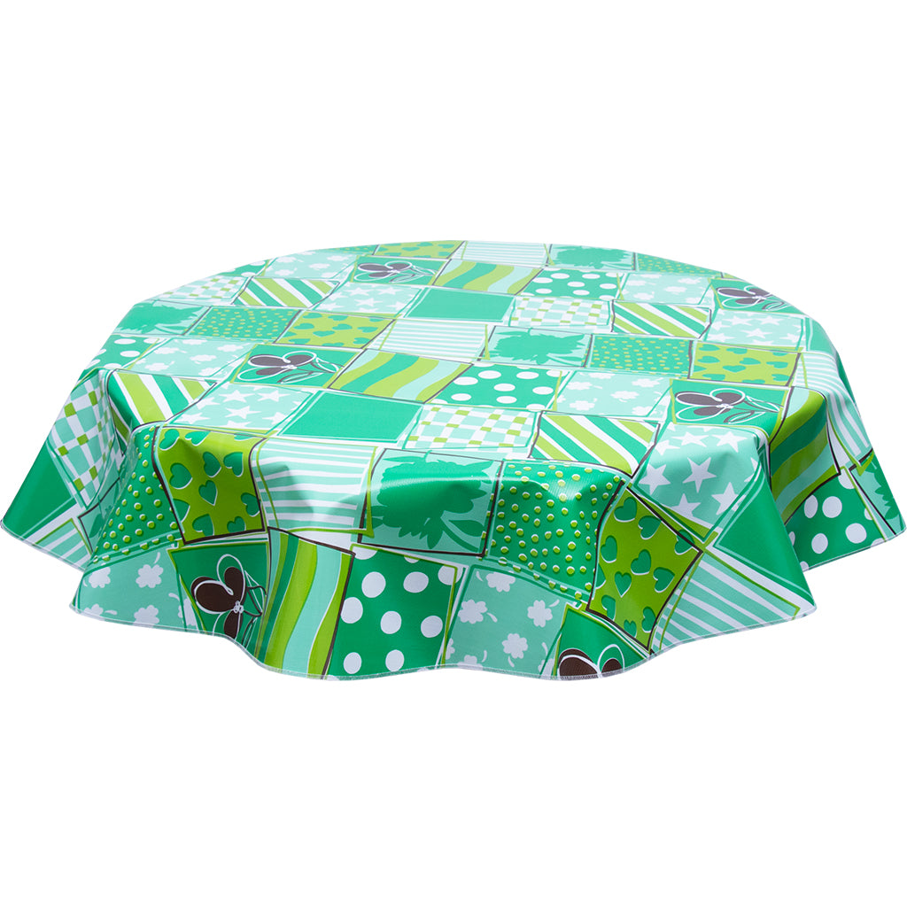FreckledSage.com Round tablecloth Patchwork Green