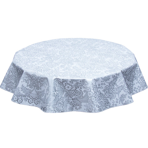 round oilcloth tablecloth silver toile