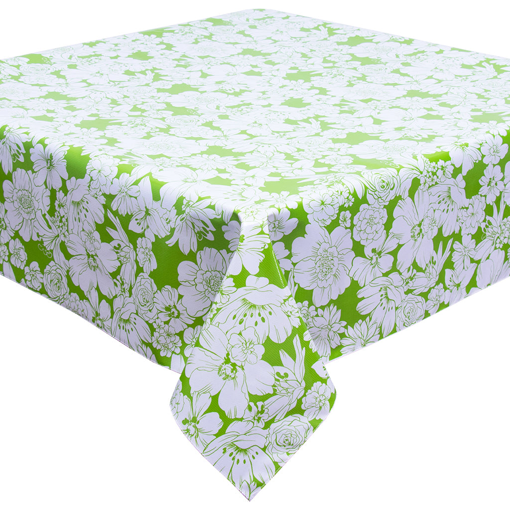 Chelsea Flowers on Lime Oilcloth Tablecloth
