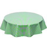 freckled sage round tablecloth lime gingham