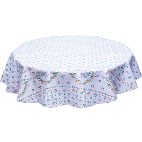 Round oilcloth tablecloth Tea party silver