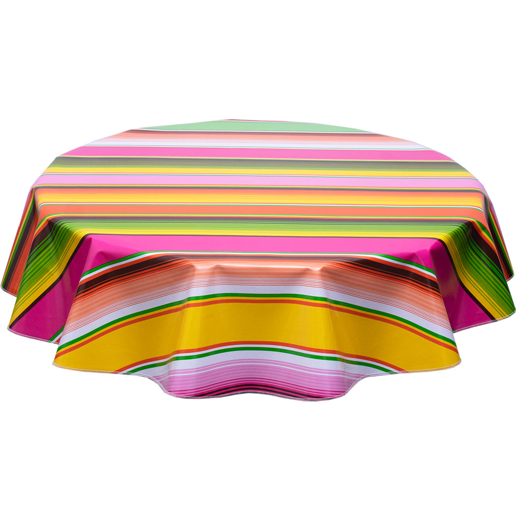 Round Oilcloth Tablecloth Serape Pink