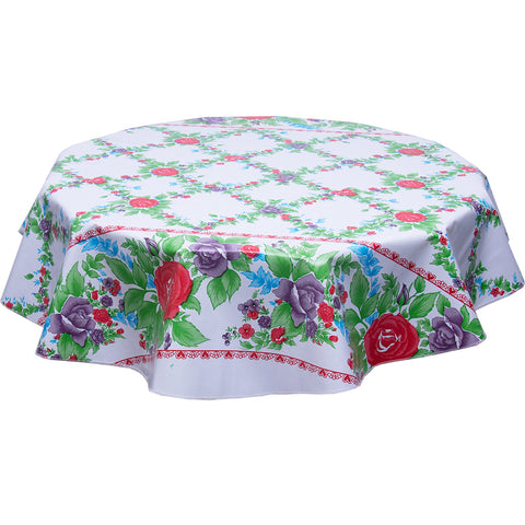red antique roses on white round oilcloth tablecloth