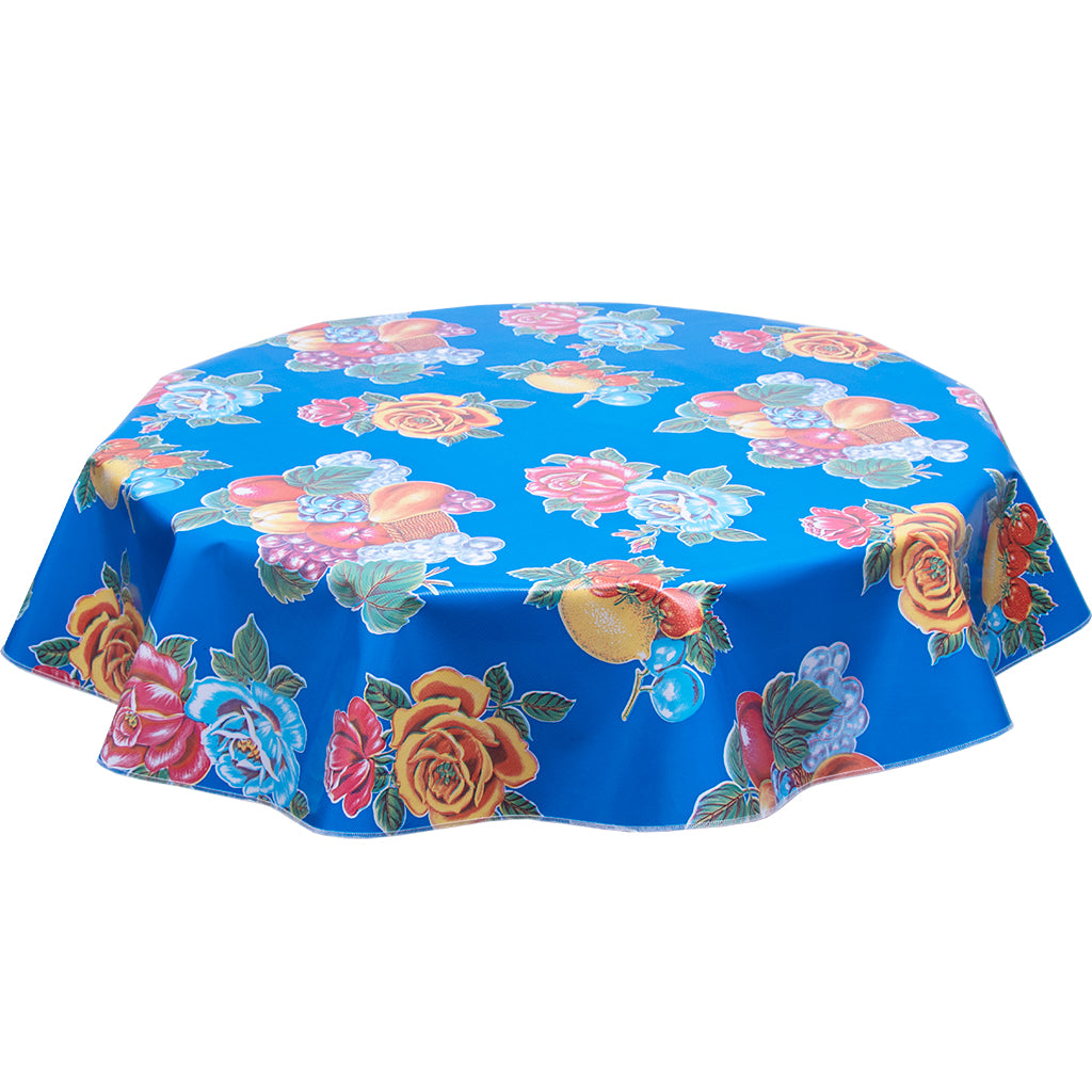 Lemons and Roses on Blue Round Oilcloth Tablecloth