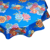 Round Oilcloth Tablecloth Lemons and Roses Blue