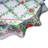 round oilcloth tablecloth red antique roses on solid white