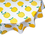 FreckledSage.com Apples and Dots Yellow Round tablecloth