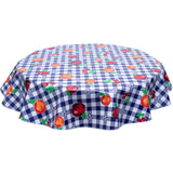 Round oilcloth tablecloth Navy gingham and Fruit
