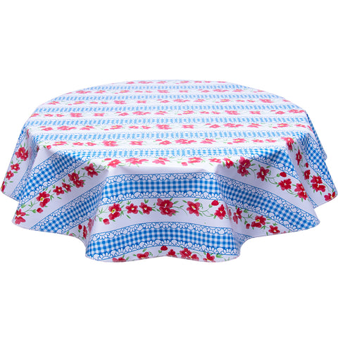 Flowers and Gingham Blue Round Oilcloth Tablecloth