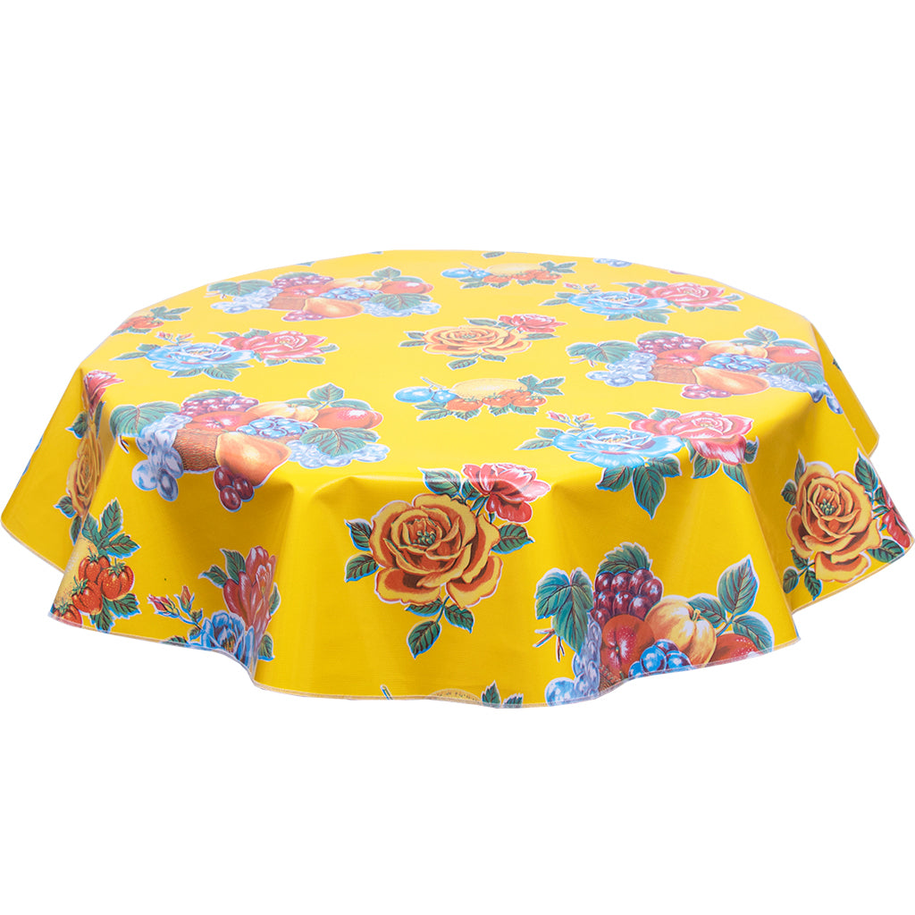 FreckledSage.com Round Lemons and Roses Yellow Tablecloth
