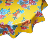 FreckledSage.com Round tablecloth Lemons and Roses Yellow