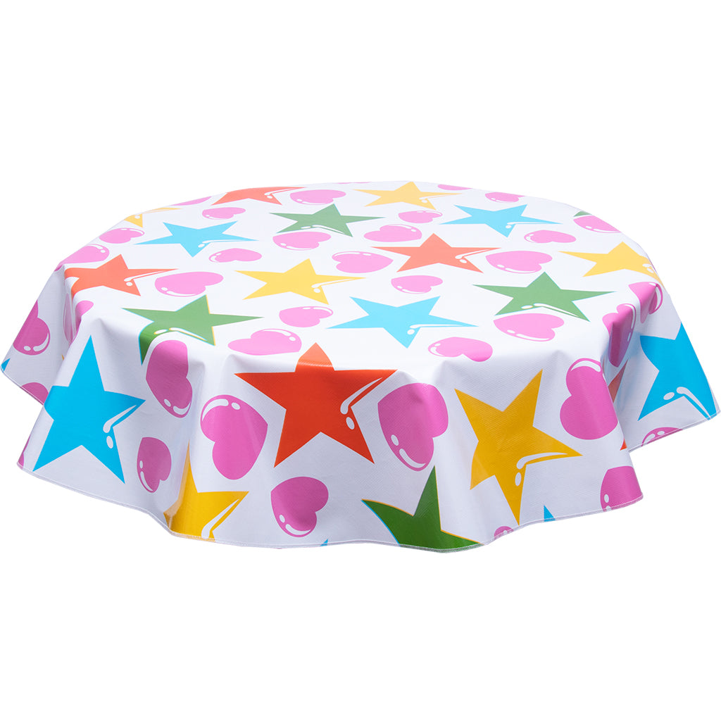 FreckledSage.com Round tablecloth hearts and stars orange & Pink