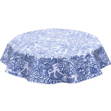 Round oilcloth tablecloth Blue Toile